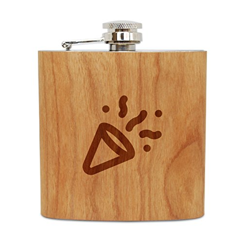 WOODEN ACCESSORIES COMPANY Cherry Wood Flask With Stainless Steel Body - Laser Engraved Flask With Noisemaker Design - 6 Oz Wood Hip Flask Handmade In USA]()