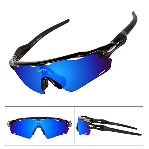 Batfox Polarized Sports Sunglasses with Interchangeable Lenses Comfortable Silicone Leg tr90 Unbreakable Frame for Running Cycling Baseball Golf Fishing Driving 100% UV Protection (Blue&Black, - Sunglasses Cricket