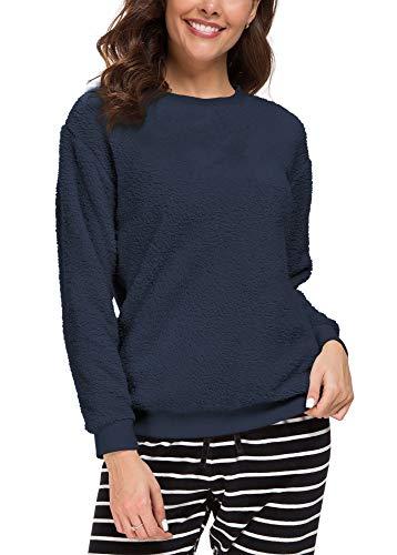 (Urban CoCo Women's Round Neck Long Sleeve Top Polar Fleece Pullover (L, Navy Blue))
