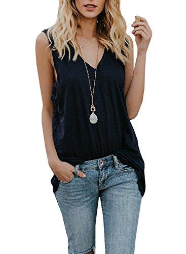 Beautife Womens Tank Tops Summer Casual Loose Fit Sleeveless V Neck Cotton Long Tunic Shirts -