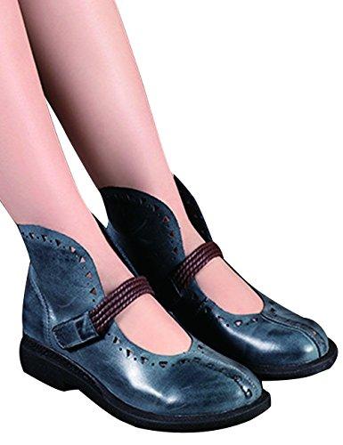 Zoulee Zapatos De Mujer De Cuero De Punta Redonda Con Cordones Zapatos De Pisos Retro