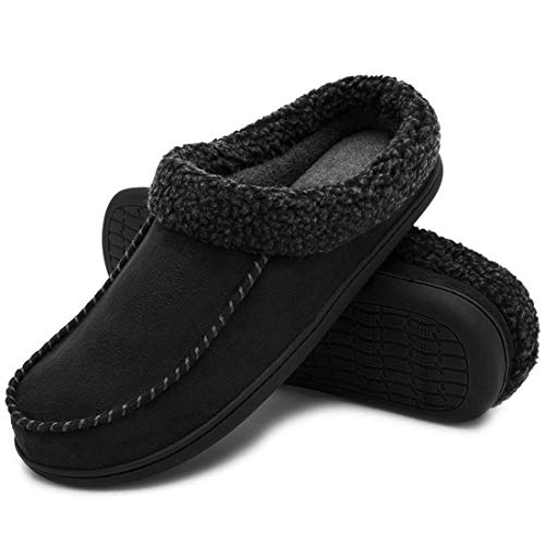 ULTRAIDEAS Men's Comfort Suede Memory Foam Slippers Non Skid House Shoes w/Faux Shearling Collar (Medium / 9-10 D(M) US, Black) by ULTRAIDEAS