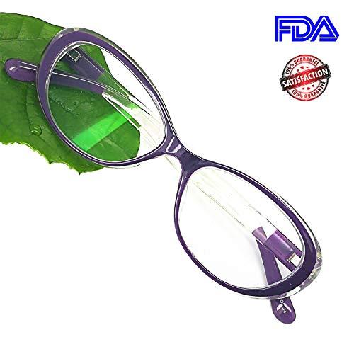 Reading Glasses Blue Light Blocking - Oval Computer Eyeglasses Frames for Women (Violet Crystal,0.25) (Violet Crystal Glass)
