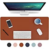 Knodel Desk Pad, Office Desk Mat, 31.5' x 15.7' PU Leather Desk Blotter, Laptop Desk Mat, Waterproof Desk Writing Pad for Office and Home, Dual-Sided (Brown/Gray)