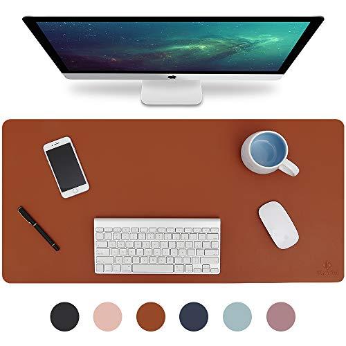 Knodel Alfombrilla de escritorio, Estera del escritorio de oficina, Vade para escritorio hecho de cuero PU, alfombrilla del escritorio del ordenador portatil, Doble cara (Marron / Gris)
