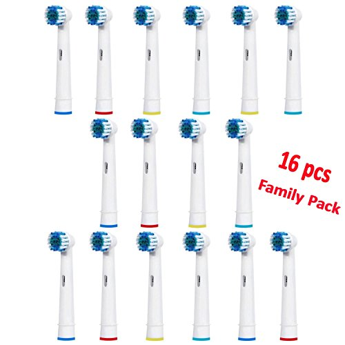 Replacement Brush Heads Oral B Toothbrush Cross Action Electric Toothbrush Refills Heads Soft Compatible With Braun Oral B - Family Pack - Pack of 16