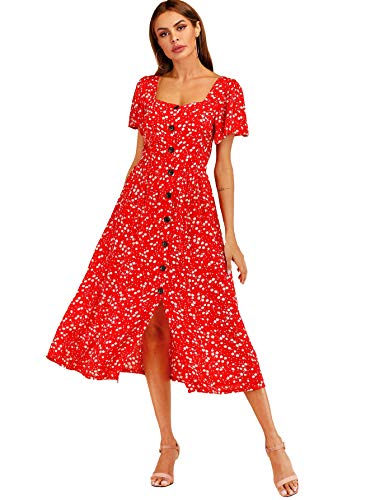 Milumia Women's Floral Print Short Sleeve Button Up Square Neck Party Long Dress Red