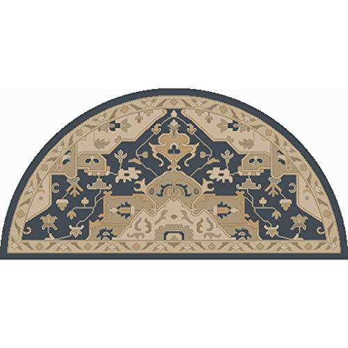 Navy Blue Hearth Rug Semi Circle, Beige Fireplace Rug Floral Pattern Half Moon Circle Mat Oriental Flower Themed Chimney Mat, Semicircle Rug Fire Place Cabin Lodge Cottage 2' x 4', Wool