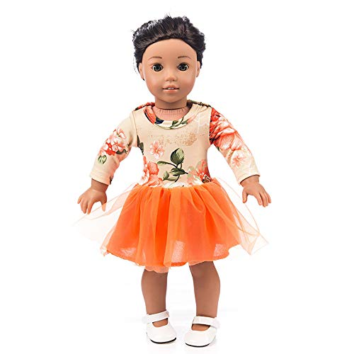 Denzar 18in Baby Doll Clothes,18 Inch Alive Baby Doll Handmade Lovely Dress Clothes Outfits Costumes Dolly Pretty Doll Clothes (Orange) ()