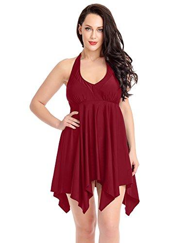 ACKKIA Women's Plus Size Burgundy Halter Top High Waist Bottom Two Pieces Bathing Suit Size Large (US - Sunglasses Maroon 5