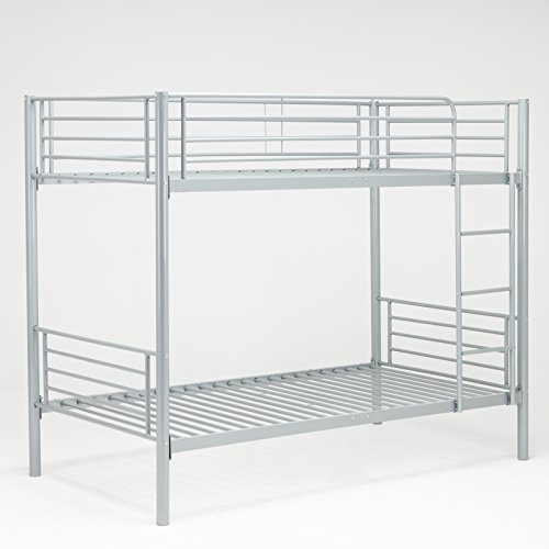Over Lower - Dehors Sun Twin-Over-Twin Size Metal Bunk Bed Frame and ladder,Space-Saving Design,Silver