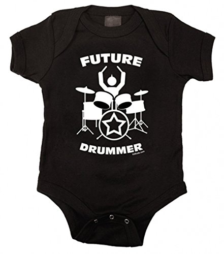 - Kiditude Future Drummer Punk Rock Baby One Piece Bodysuit Romper, Black (0-3 Months)