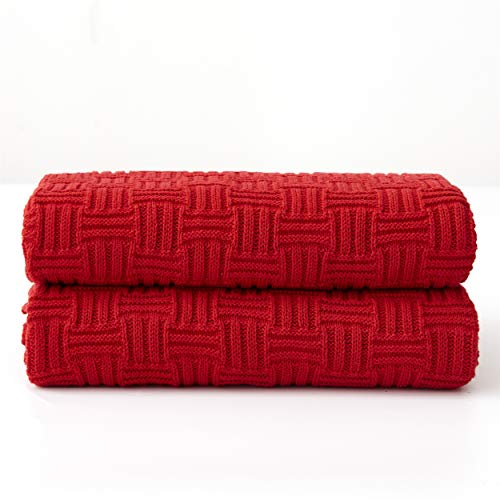 Longhui bedding Cotton Red Knit Throw Blanket for Couch Sofa Beach Chair Bed Home Decorative Soft Warm Cozy Cable Lightweight Knitted Blankets, 50 x 60 Inch (Throw Sofa Large Red)