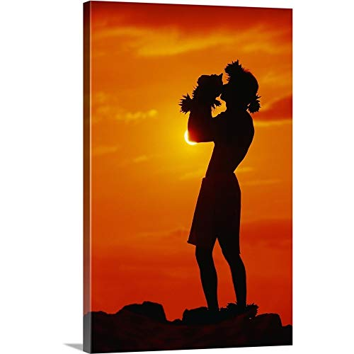 (Ron Dahlquist Premium Thick-Wrap Canvas Wall Art Print Entitled Hawaii, Maui, Napili, Silhouette of Man Blowing Conch Shell at Sunset 12