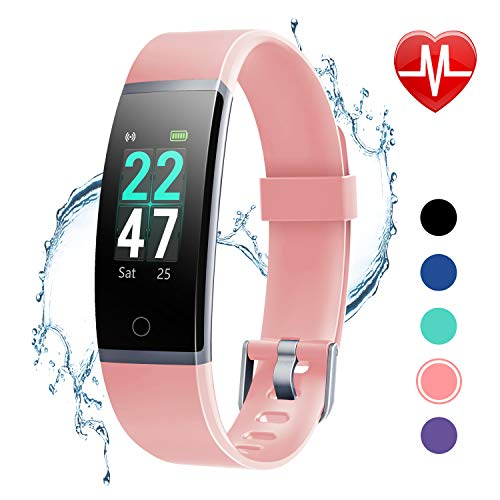 LETSCOM Fitness Tracker with Heart Rate Monitor, Color Screen Activity Tracker Watch, IP68 Waterproof Pedometer Watch Sleep Monitor Step Counter for Women Men Kids (App That Counts Steps And Calories Burned)