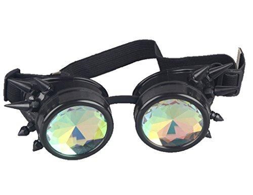 Kaleidoscope Rave Rainbow Crystal Lenses Steampunk Goggles Spike Halloween 5