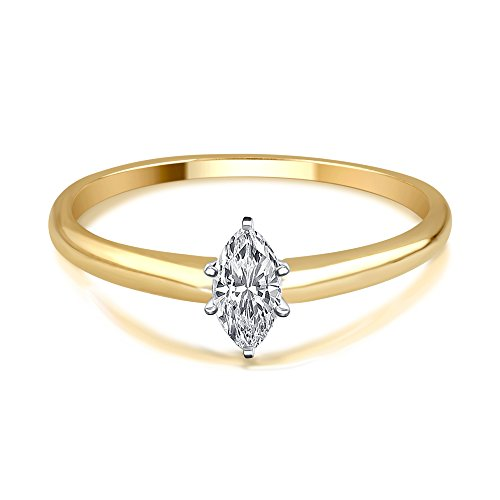 (1/4 Cttw Marquise Diamond Solitaire Ring in 14K Yellow Gold)
