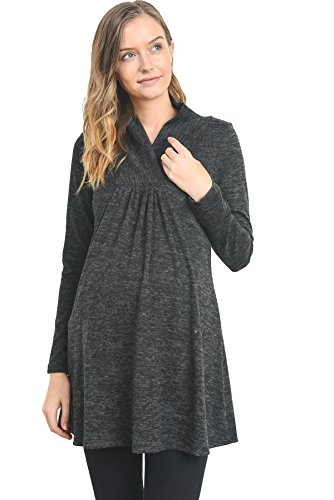 Hello Miz Womens Sweater Knit Maternity Long Sleeve Tunic Top (Large, Dark Grey)
