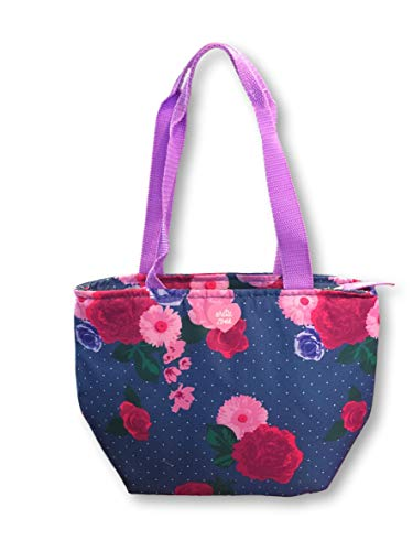Blue Microban Handle - Arctic Zone Insulated Leak Proof Microban Lunch Bag Tote with Handle & Zipper (Floral Navy Blue Polka Dots)