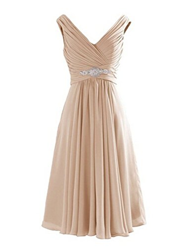 WeiYin Women's Short Chiffon V-Neck Cocktail Dresses Bridesmaid Dresses Champagne US 6 (After Six Stretch Bridesmaid Dress)