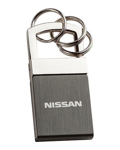 Genuine Nissan Brushed Metal Key Chain - Black Leatherette Key Tag