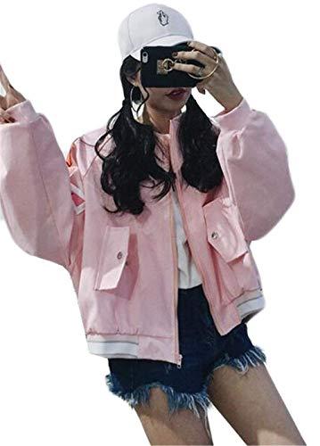 Huixin Manteau Femme Manches Longues Boyfriend Bouffant Automne Vtements D'Extrieur Young Styles Blouson Grande Taille Coat College Unisex Outdoor Blouson Jeune Mode Rose