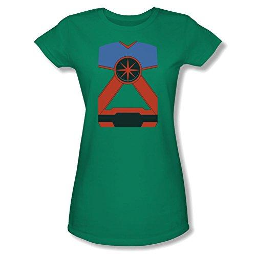 Martian Manhunter Costume Ladies Junior Fit T-Shirt Large Kelly Green (Martian Manhunter Costume)