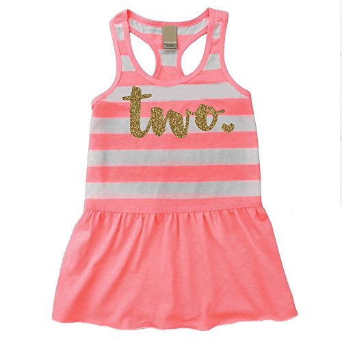 Second Birthday Outfit Girl Two Year Old 2nd Birthday Summer Tank Dress (3T)