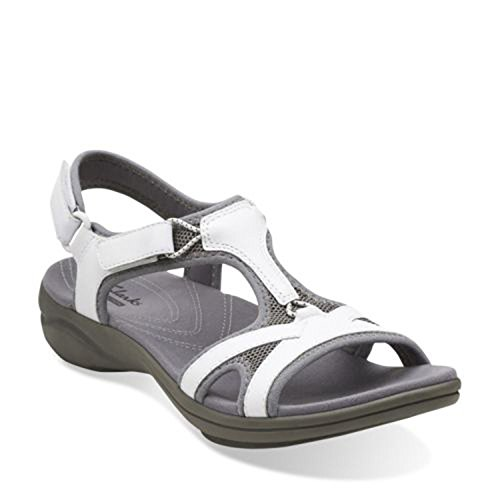 CLARKS Women's In Motion Sea Sandal,White Leather,US 6 M