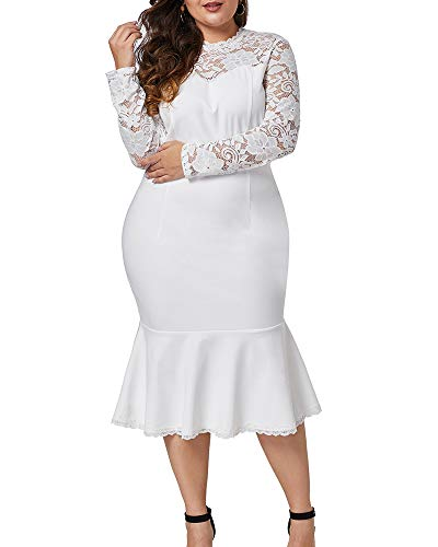LALAGEN Womens Plus Size Lace Long Sleeve Cocktail Party Mermaid Midi Dress White 3X