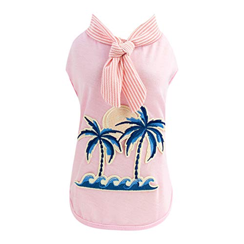 Howstar Super Cute Printed Vest for Pet Summer Beach Costumes Outwear Dog Apparel Puppy Clothes (S, Pink)]()