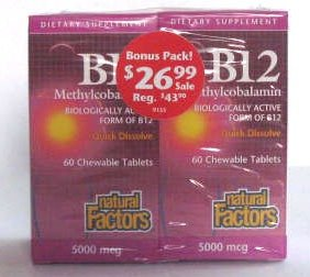 Cheap B-12 Methylcobalamin 5,000mcg Bonus Pack Natural Factors 60/60 Chewable