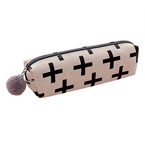 Creative Cute Large Capacity Pencil Pen Case, Office College School Canvas Zipper Storage Bag, Makeup Brush Pouch Holder Box Organizer