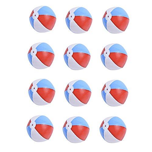 Newcomdigi 12 Stück Set Wasserball, Strandball, Beach Ball, Aufblasbarer Wasser Bälle, Durchmesser 40cm,bunt in rot-weiss-blau,Wasser Spielzeug für Strand Urlaub, Schwimmbad, Schwimmingpool in Garten, Badeurlaub