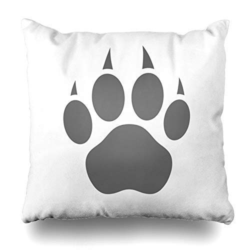 (KJONG Grey Silhouette White Tiger Bear Dog Stencil Flat Animal Square DecorativePillow Case 18 x 18inch Zippered Pillow Cover for Bedroom Living Room(Two Sides Print))