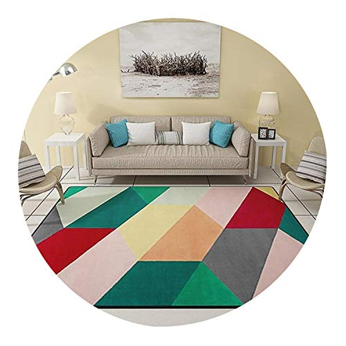 - Modern Triangles Geometric Parlor Living Room Decorative Carpet Floor Door Mat Pad Bathroom Kitchen Area Rug Grey,Colorful Field,100x160cm