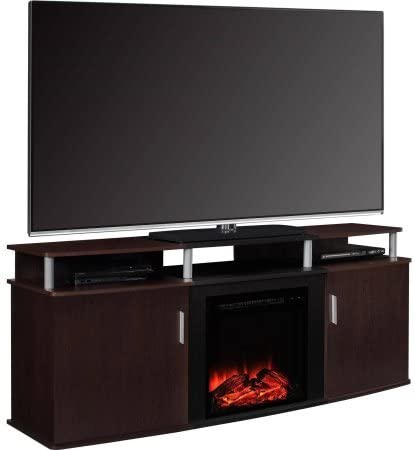 Ameriwood Home Carson Electric Fireplace TV Console for TVs up to 70 Cherry//Black