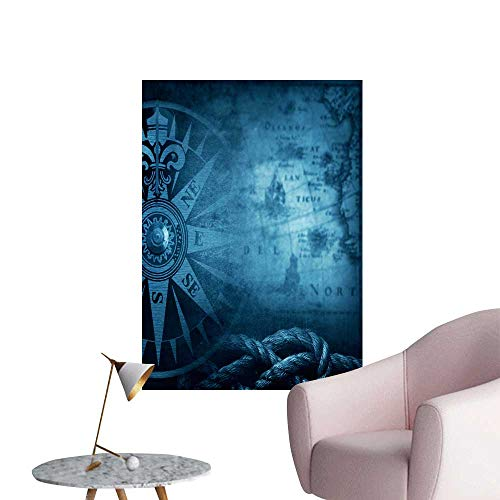 SeptSonne Wall Stickers for Living Room Pirate Nautical Theme Grunge backgroun Vinyl Wall Stickers Print,12