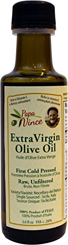 First Pressed Olive Oil (Extra Virgin Olive Oil, Papa Vince Fresh Harvest, Family Made, 100% Unblended First Cold Pressed, Single Sourced from Sicily, Italy, Unfiltered, Unrefined, Robust, Rich in Antioxidants, 3 fl)