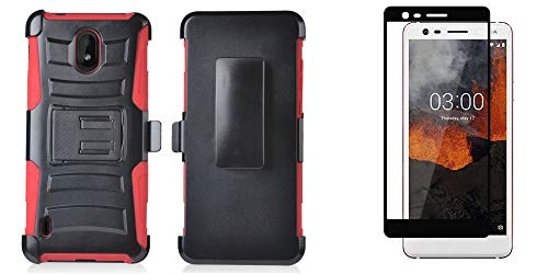 Nokia Series - Bemz Rugged Series Bundle Compatible with Nokia 3.1 A, Nokia 3.1 C with Full Body Coverage Double Layer Armor Case (Red/Black), Tempered Glass Screen Protector and Atom Cloth