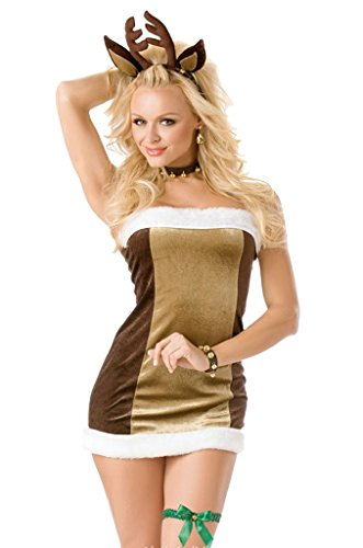 Deer Costumes Sexy (COMVIP Christmas Deer Cosplay Club Sexy Lingerie Costume Brown)