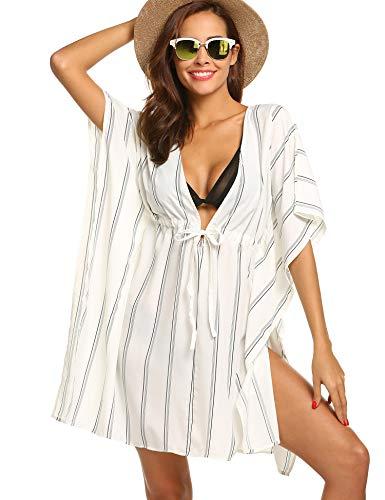 ADOME Womens V-Neck Swim Cover up Swimwear Bikini Cover-up Beach Dress White