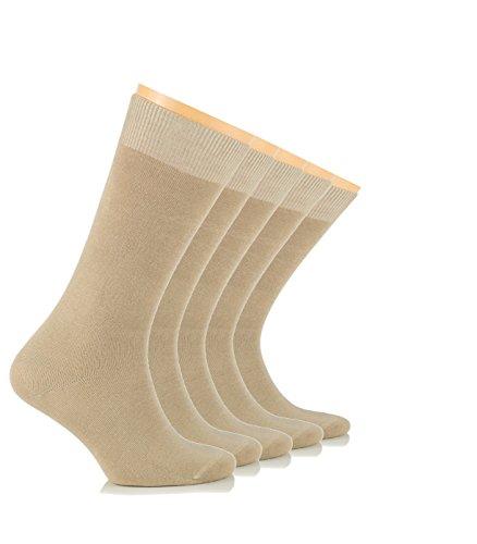 LAETAN Mens Socks, European Bamboo Dress Socks, (Black, Brown, Beige, Navy, Crew Size) (Beige (5 Pairs)) (Tan Socks Dress)