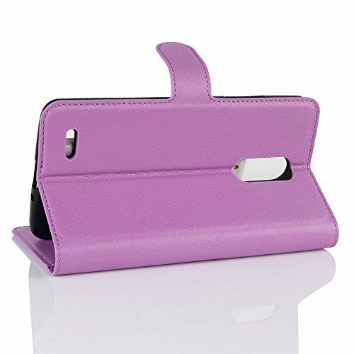 Lusee® PU Caso de cuero sintético Funda para ZTE MAX XL N9560 / Z986 6.0 Pulgada Cubierta con funda de silicona azul violeta