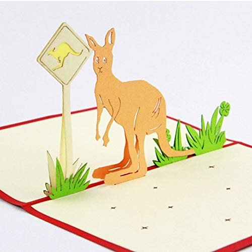 BeesClover Australian Kangaroo Road Sign /3D pop up Greeting Card/Handmade Souvenir 10 pcs Blue Cover ()