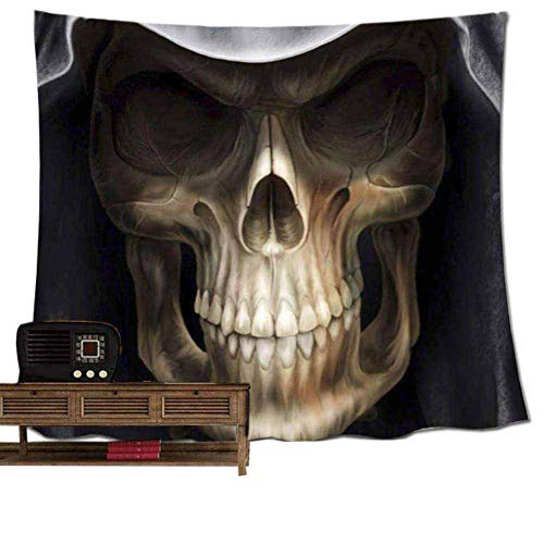 (POPPAP Wall Decor Tapestry, Halloween Festive Atmosphere Wall Hanging Blanket with White Teeth Face Skull Cloak Devil Hippie Print Holiday Wall Decorations Tablecloth(79
