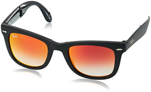 Ray-Ban FOLDING WAYFARER - MATTE BLACK Frame MIRROR GRADIENT RED Lenses 50mm - Mirror Wayfarer Ray Ban Sunglasses