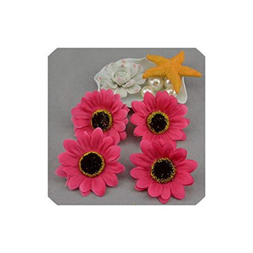 10Pcs 6Cm Artificial Flower Silk Sunflower Gerbera Wedding Home Decoration DIY Wreath Scrapbookings,Rose Red - Wreath Seed Sunflower