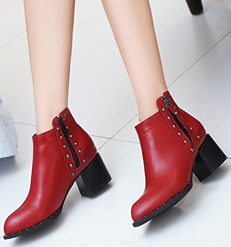 Toe Red IDIFU Mid Zipper Side Studded Womens High Block Heeled Comfy Boots Pointed Ankle wUq6T