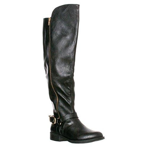 Women's Steve Madden 'Skippur' Over The Knee Boot Black Leat